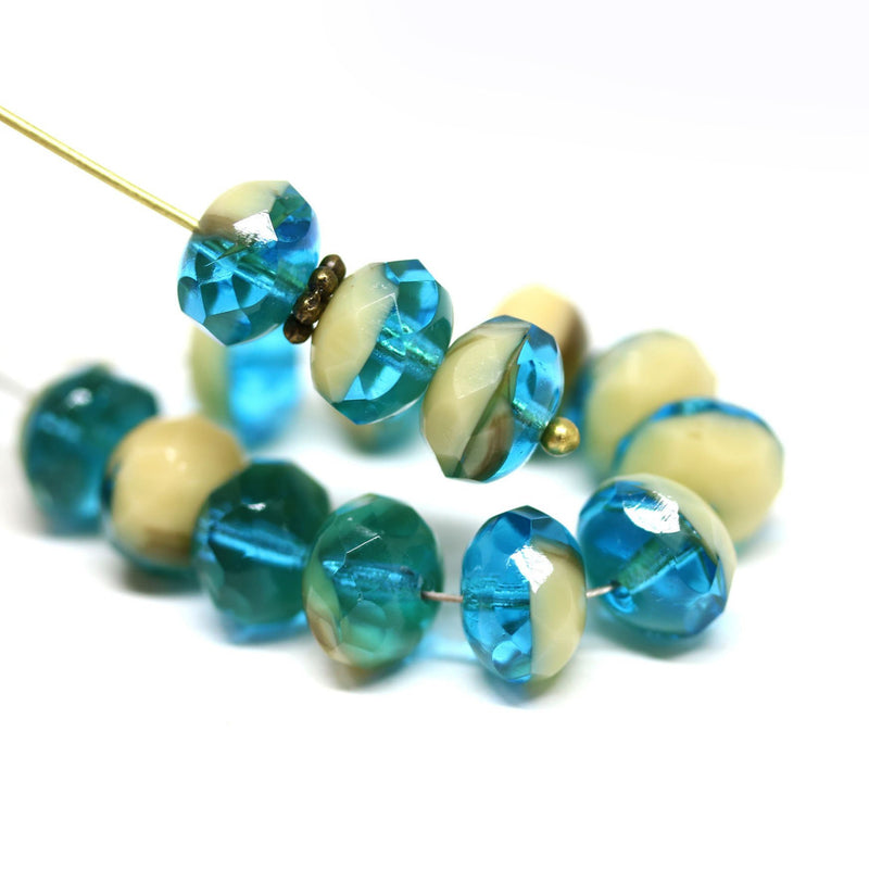 6x8mm Blue beige czech glass donut beads, gemstone cut -15pc
