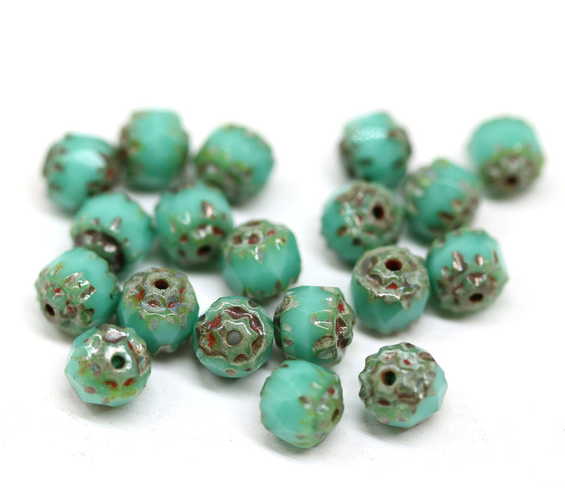 6mm Picasso finish Turquoise green cathedral beads, Czech glass round fire polished beads 20Pc