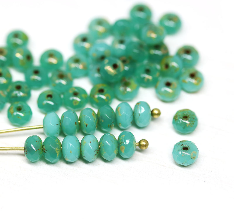 3x5mm Turquoise green rondelle beads, Mixed green picasso czech glass - 50pc