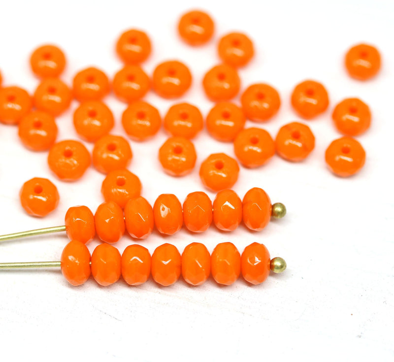 3x5mm Opaque orange rondelle czech glass fire polished beads - 50pc