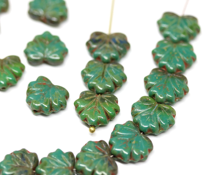 11x13mm Mixed green maple leaf beads, Picasso finish Czech glass leaves pressed beads 20pc