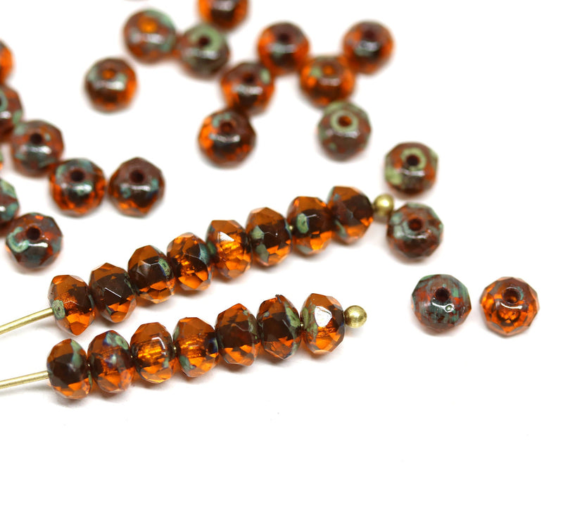 3x5mm Brown topaz picasso finish czech glass rondel beads - 50Pc