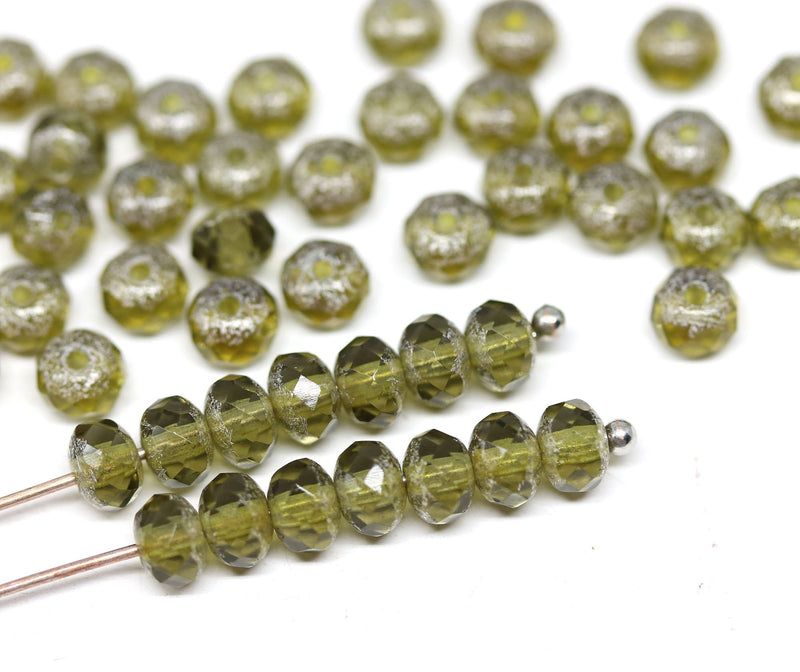 3x5mm Light olivine czech glass beads, Silver wash rondels - 50Pc
