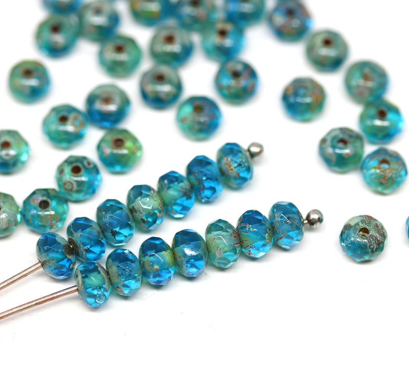 3x5mm Aqua blue picasso finish czech glass rondel beads - 50Pc
