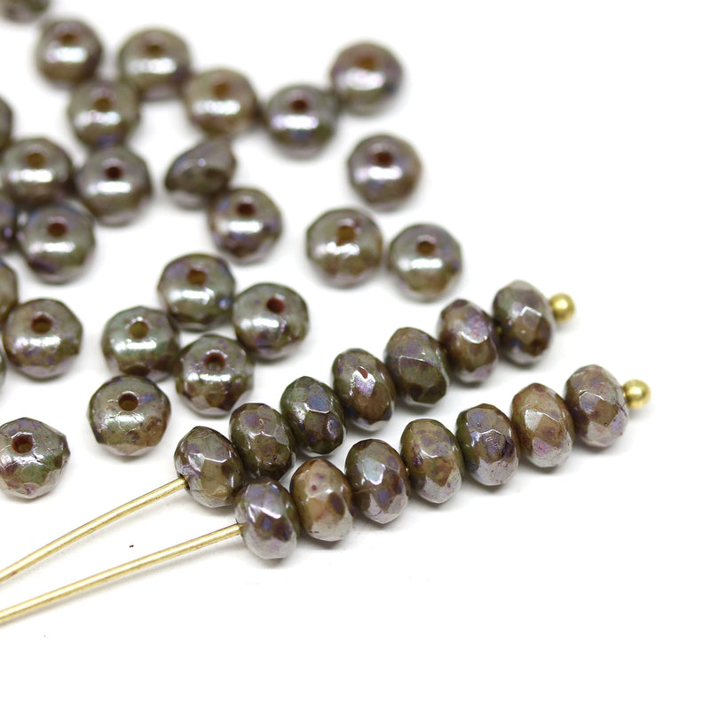 3x5mm Brown czech glass beads, Picasso luster finish rondels - 50Pc