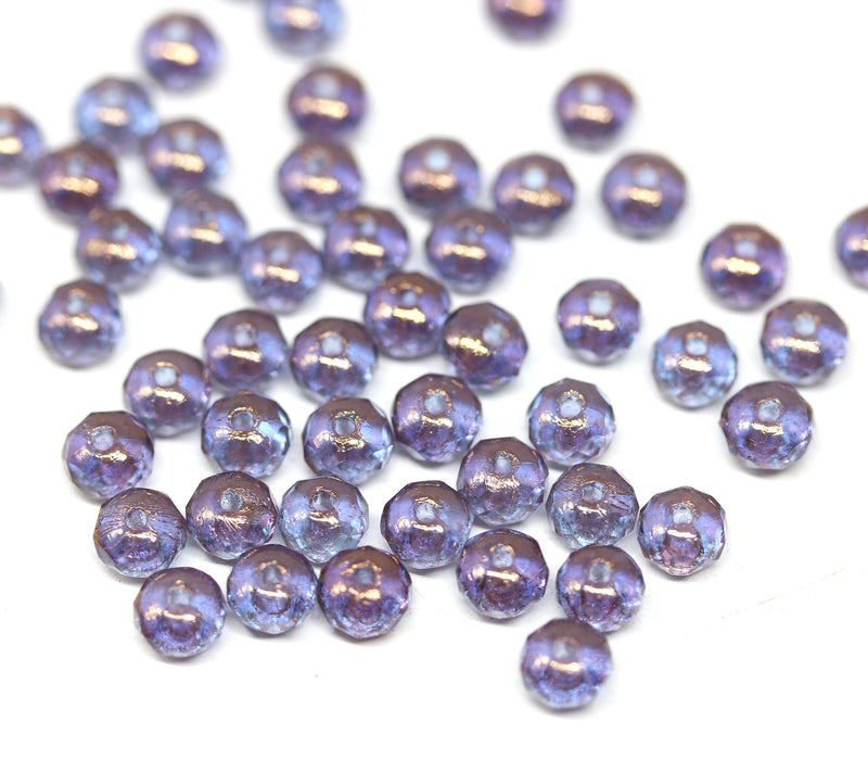 3x5mm Blue purple czech glass rondel beads -50Pc