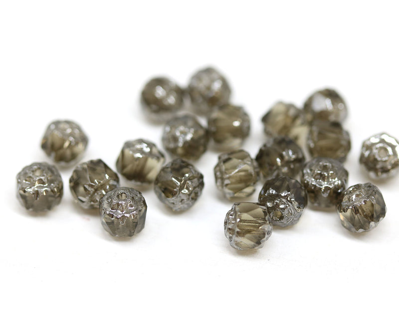 6mm Transparent gray cathedral beads, Czech glass round fire polished silver ends 20Pc