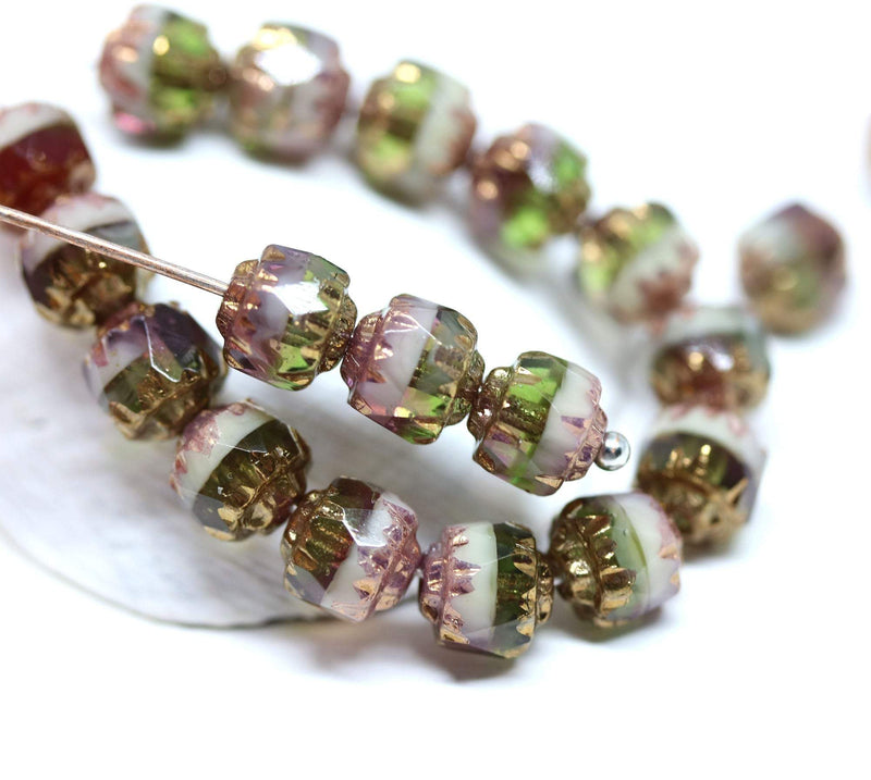 6mm Green purple cathedral czech glass beads, Golden ends fire polished 20Pc