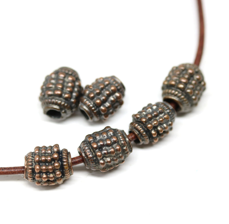 10mm Dotty barrel copper beads, 3mm hole 6Pc