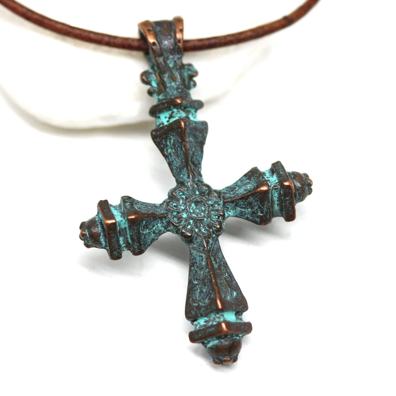 Large copper cross pendant, Green patina