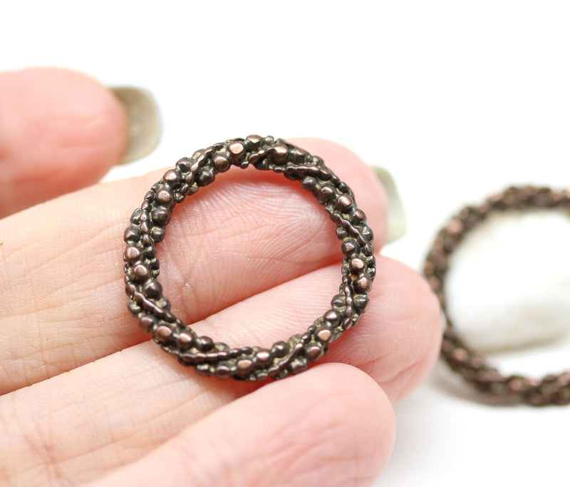 20mm ornament antique copper ring 2Pc