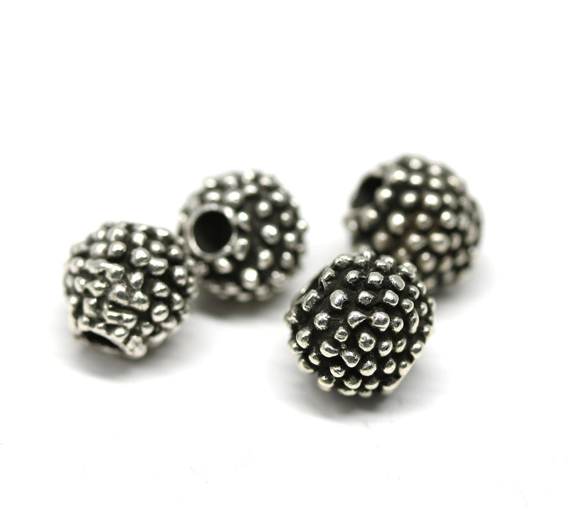 9mm dotty round antique silver beads 4Pc