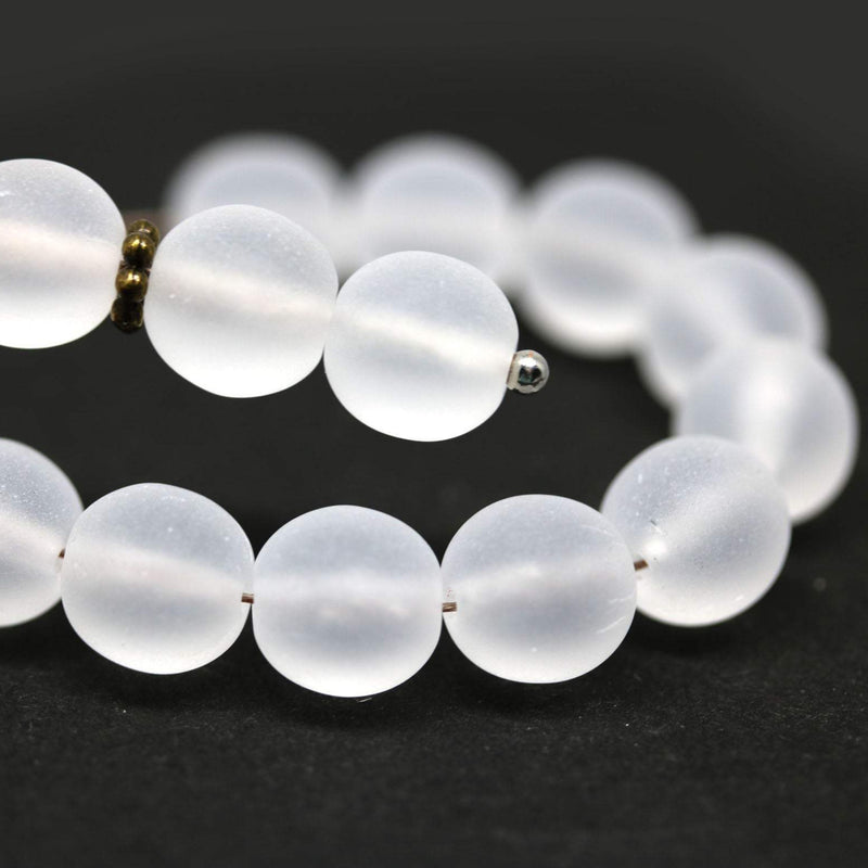 8mm Frosted clear round druk pressed beads 30Pc