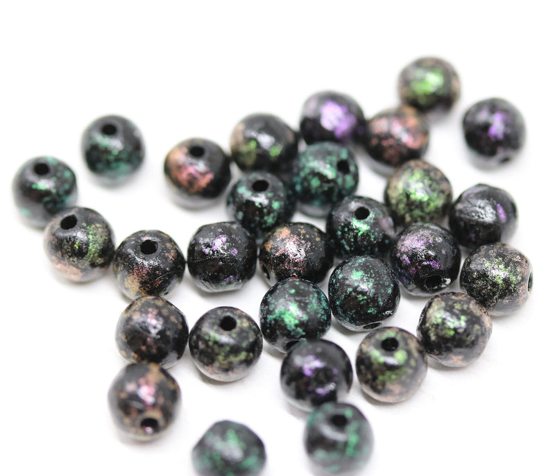 6mm Round black beads mix, Metallic finish Czech glass druk pressed spacers - 30Pc