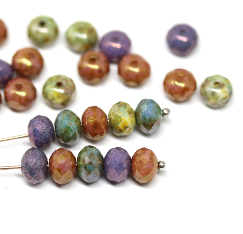 5x7mm Picasso Czech glass rondelle beads mix, Brown green - 25pc