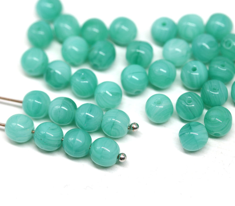 6mm Seafoam green czech glass round druk pressed beads spacers 50Pc