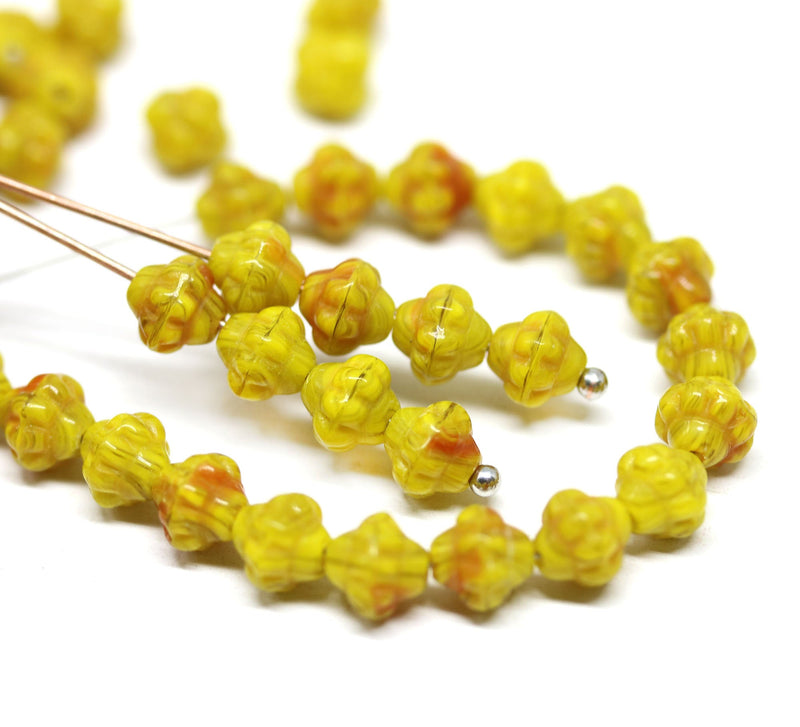 6mm Mixed yellow bicone czech glass beads, yellow red fancy bicones - 70pc