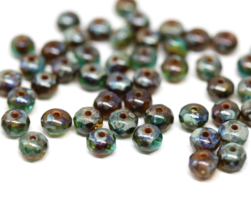 3x5mm Mixed blue brown Topaz czech glass rondel beads - 50Pc