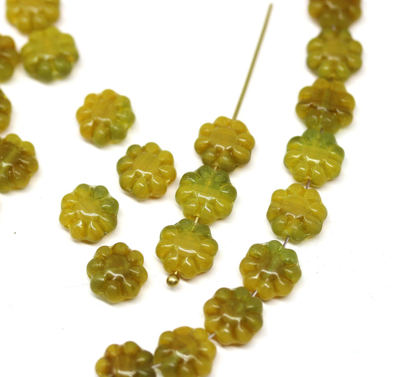 9mm Dark yellow green flower czech glass beads, flat daisy - 30Pc