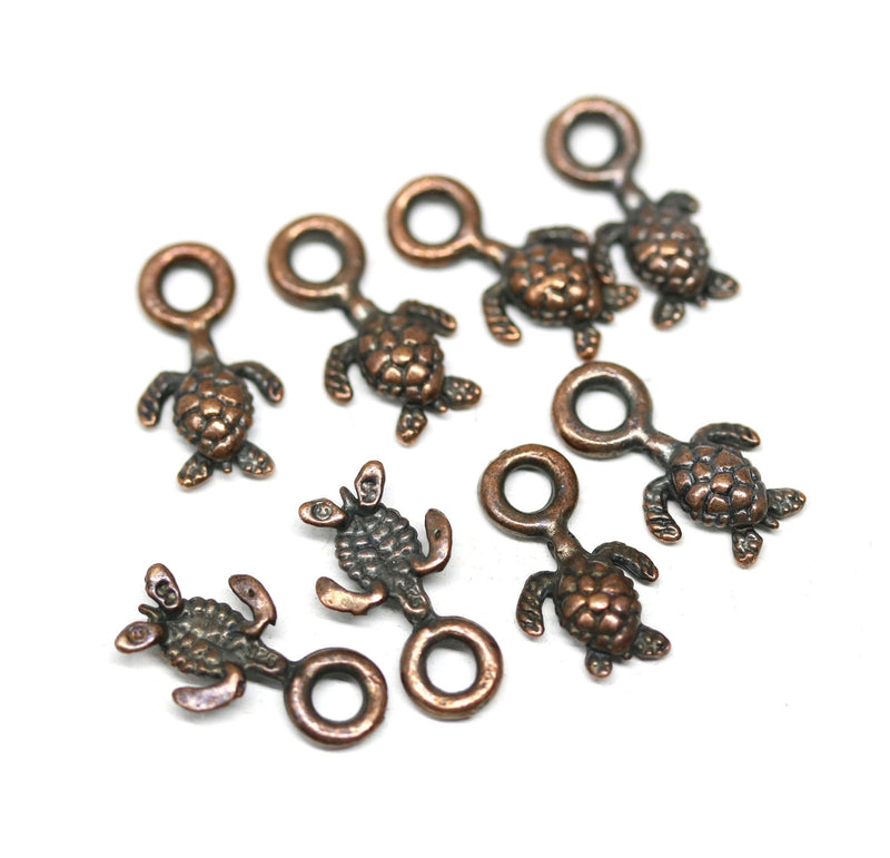 8pc Tiny antique copper turtle charms
