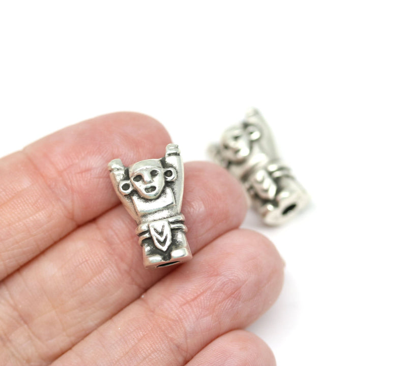 2pc Primitive idol beads, Antique silver Neolithic Idol, 4mm hole