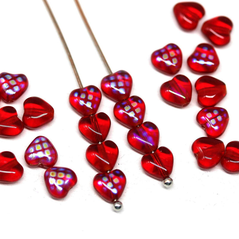 6mm Red heart Czech glass shaped pressed beads - 25Pc