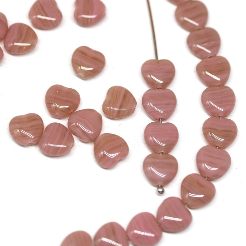 8mm Powder mixed pink czech glass heart beads - 40pc