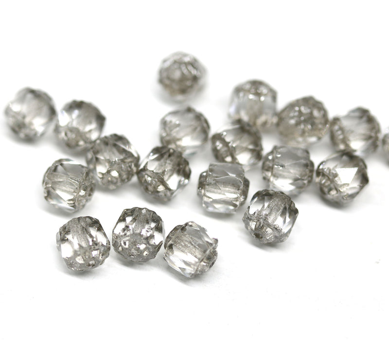 6mm Transparent light gray cathedral beads, silver ends 20Pc