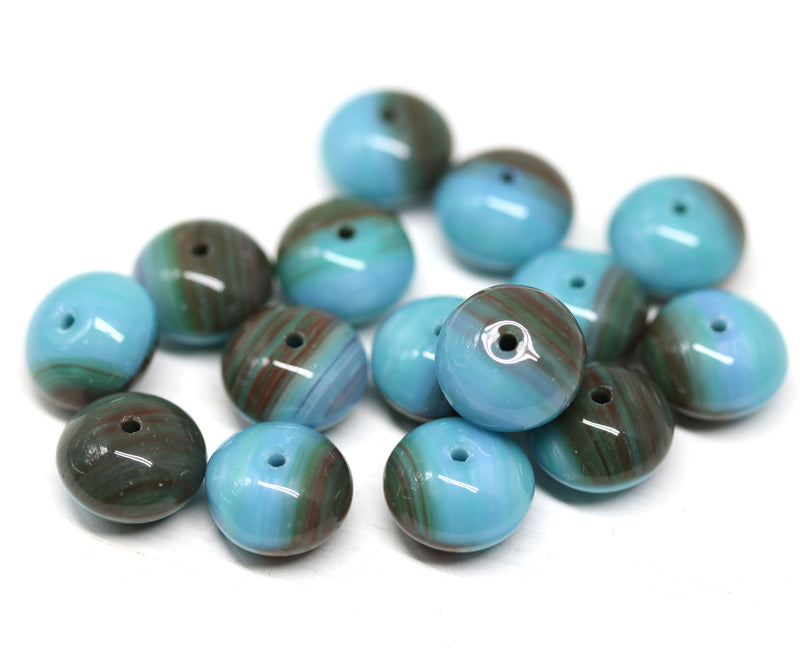 7x11mm Blue brown puffy rondelle Czech glass beads - 15Pc
