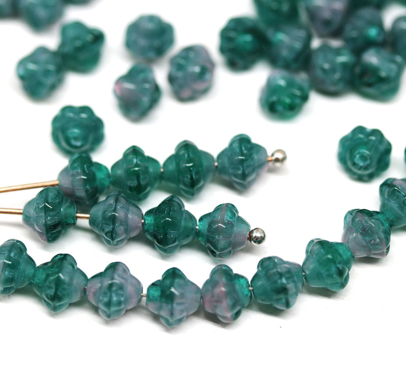 6mm Mixed teal pink bicone czech glass beads, fancy bicones - 70pc