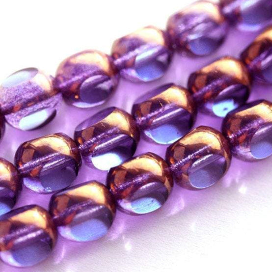 8mm Blue Purple round czech glass beads with luster round cut - 15pc