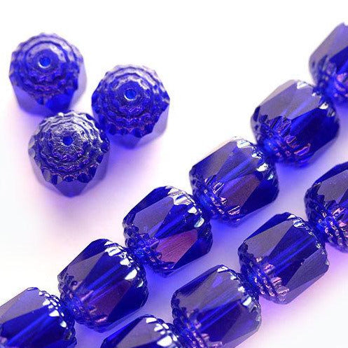 8mm Cobalt Blue cathedral beads Czech glass light silver ends round fire polished - 15Pc