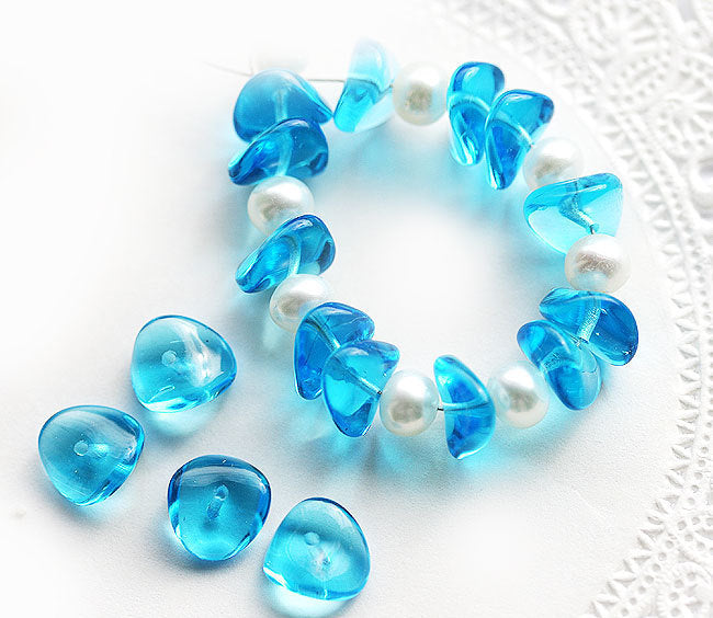 25Pc Aqua blue czech glass rondelle beads spacers - 4x9mm