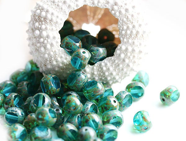8mm Picasso Aqua Blue Czech glass beads fire polished round cut - 15pc