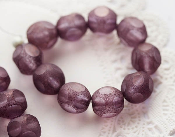 10mm Dusty purple violet glass beads, czech round fire polished round cut beads - 10Pc