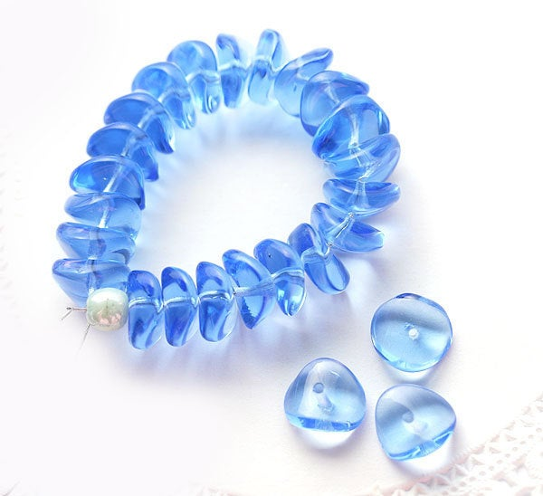 4x9mm Light Sapphire Blue rondels, Blue glass rondelle beads - 25Pc