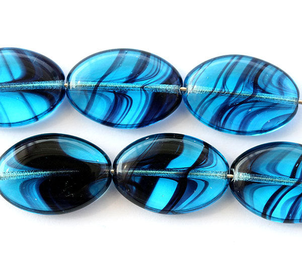 20x14mm Aqua Blue Large oval flat beads with stripes - 6Pc