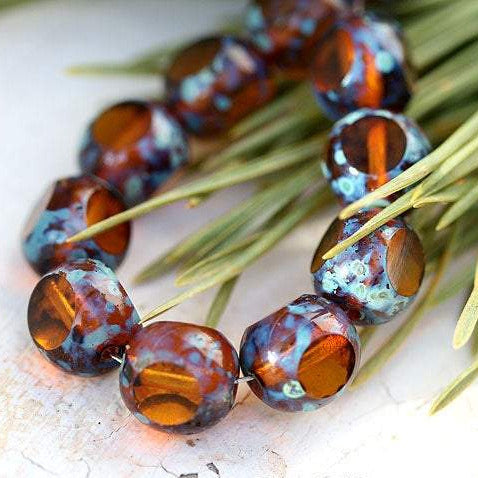 10mm Brown topaz Czech glass beads, round cut, fire polished picasso 10Pc