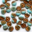 9mm Glass rondelle czech glass beads, Brown and Blue - 50pc