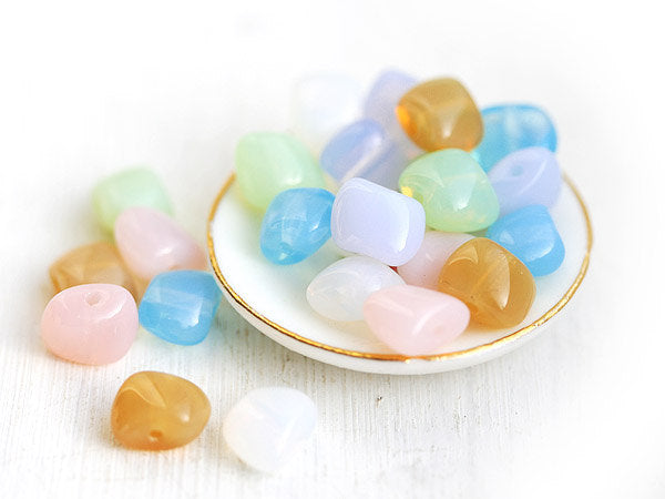 6x8mm Czech nugget Glass beads, Pastel mix spacers - 24Pc