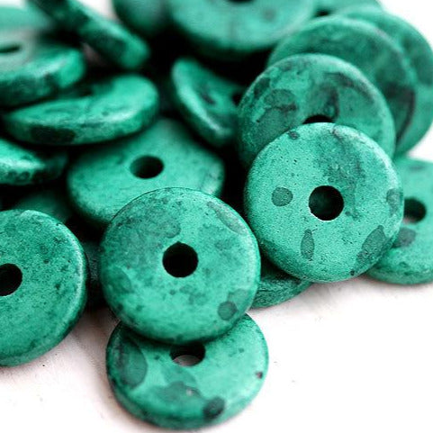 13mm Teal green Ceramic Rondelle beads 10pc