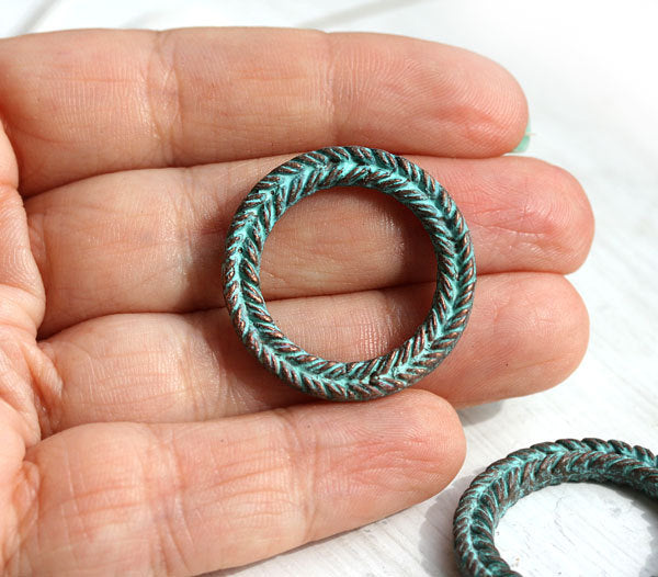 1pc Large ornament copper ring, green patina greek