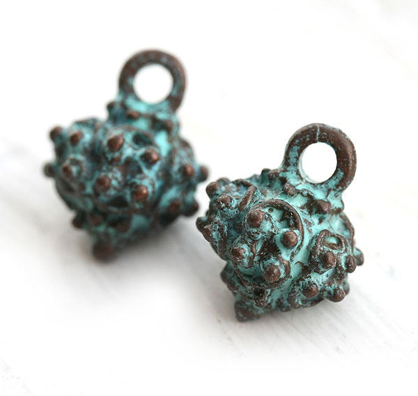 1pc Large Rhombus Drop jewelry charms green patina on copper