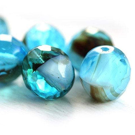 12mm Aqua Blue beads Czech Glass Mixed blue tortoise - 6Pc