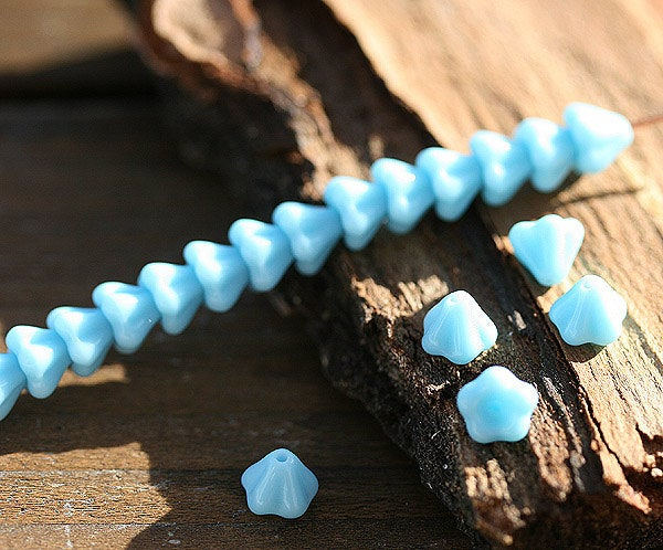 4x6mm Sky Blue flowers Small bell flower beads, Czech glass - 30Pc