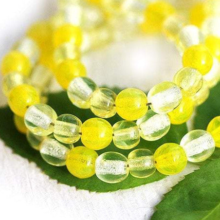 4mm Yellow beads mix Czech glass round spacers - approx.95-100Pc
