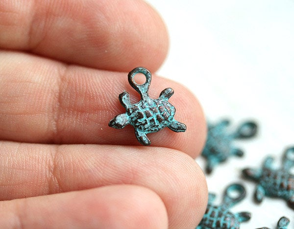 6pc Tiny Turtle charms, green patina