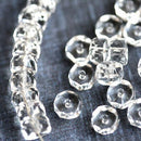 6x3mm Crystal Clear rondelle beads, fire polished czech glass - 25Pc
