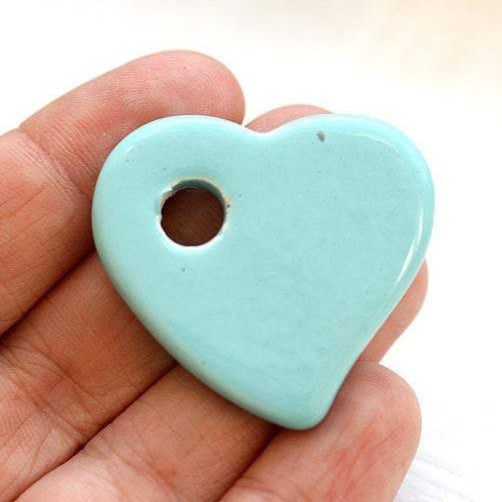 1pc Light Blue Heart ceramic pendant bead, enamel coating