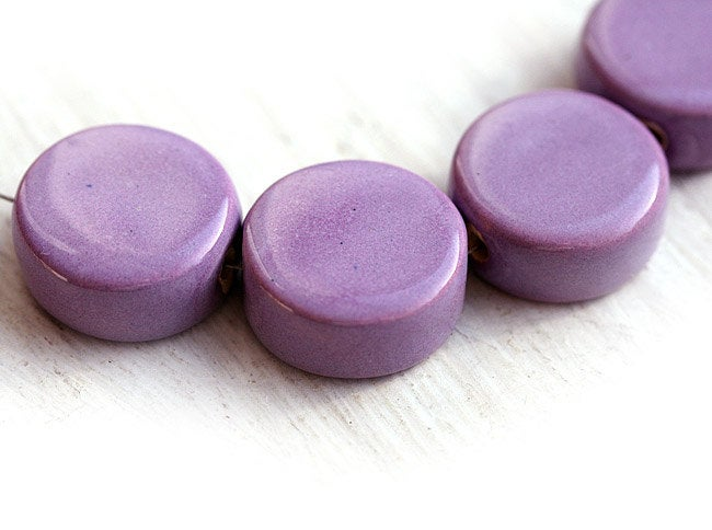 2pc Mauve Ceramic coin beads, enamel coating 17mm